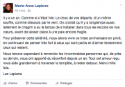 Le message publié par Marie-Anne Lapierre sur sa... (CAPTURE D'ÉCRAN DU COMPTE FACEBOOK DE MARIE-ANNE LAPIERRE) - image 1.0