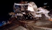 L'astronaute américaine Peggy Whitson lors de sa sortie... (AFP, NASA TV) - image 1.0