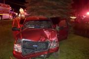 Après l'impact, la camionnette dans laquelle prenait place... (fournie) - image 1.0