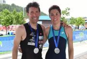 Les athlètes régionaux Frédéric Bouchard et Ariane Carrier... (Photo Le Quotidien, Michel Tremblay) - image 2.0