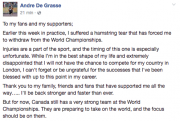 Le dernier duel tant attendu entre Usain Bolt et Andre De... (Tirée de Facebook) - image 2.0