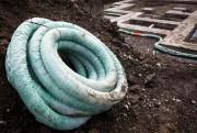 Un rouleau de drain de fondation recouvert d'une... (PHOTO SIMON GIROUX, LA PRESSE) - image 1.0