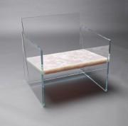Fauteuil en verre trempé avec assise en onyx... (photo fournie parClaste) - image 2.0