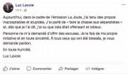 La réaction de Luc Lavoie sur sa page... (Image tirée de Facebook.) - image 1.0