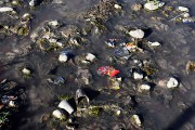 Près du rivage, des bouteilles en plastique, des... (JOHAN ORDONEZ, AFP) - image 1.0