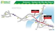 Entraves dans le secteur de L'Île-des-Soeurs... (Infographie fournie par le MTQ) - image 1.0