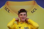 Le nouveau détenteur du maillot jaune, l'Italien Giulio... (PHOTO GONZALO FUENTES, REUTERS) - image 2.0