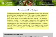 Le site web d'Oxfam, où il est possible...