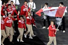 La délégation canadienne fait son entrée aux Jeux olympiques de Londres.