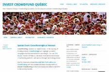 La page d'accueil du Invest Crowdfund Québec....