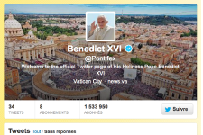 Le compte Twitter du pape.... (Photo capture d'écran)