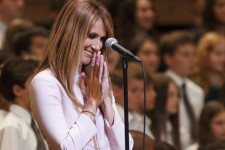 Céline Dion était de passage à la Maison symphonique à l'occasion du concert visant à recueillir des fonds pour la Fondation CHU Sainte-Justine.
