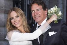 Le chef du Parti québécois Pierre Karl Péladeau et l'animatrice Julie Snyder célèbrent leur mariage à Québec, le samedi 15 août.