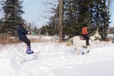<strong>Passionnés par le monde équestre, Jean Fleurant et Mélissa D'Auteuil sont tombés amoureux lors d'un rodéo. C'est donc à dos de cheval que le couple a décidé un jour de relancer une activité scandinave ancestrale d'abord utilisée comme moyen de transport: le ski joëring. Le sport parfait pour les skieurs victimes de vertige! Le ski joëring allie le ski à un attelage animal.</strong>
