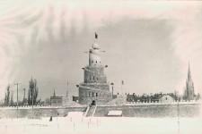 Le Carnaval de Québec fête ces jours-ci ses 62ans. Mais dans les faits, la capitale a connu son premier carnaval d'hiver en 1894. Déjà, un imposant palais de glace était construit devant le parlement, comme celui-ci de 1895. La spirale de blocs de glace et de neige impressionne, juchée sur les fortifications à deux pas de la porte Saint-Louis. Ce lieu, devant le Parlement de Québec, est celui où on trouve de nos jours le palais de Bonhomme, représentant officiel du Carnaval de Québec depuis 1954.