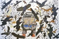 <strong>Artiste de l'américanité, <strong>RenéDerouin</strong>expose ses poèmes visuels, remplis d'oiseaux tourbillonnants, à la Galerie MichelGuimont.</strong>