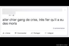 Exemples de messages haineux, d'insultes ou de menaces tirés de l'Internet à la suite de l'attentat perpétré dans une mosquée à Québec.