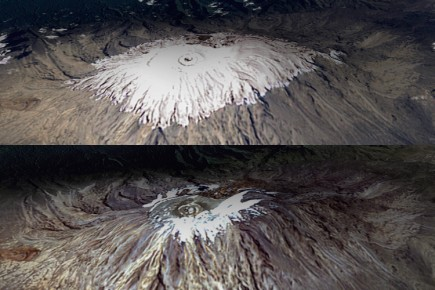 Ce montage montre des images satellite du Kilimandjaro... (Photo: AFP)