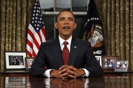 S'adressant à la nation depuis le bureau Ovale,... (Photo: Reuters)