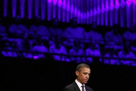Barack Obama a livré son discours lors d'un «concert pour l'espoir» au Kennedy Center de Washington.