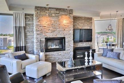 1000 images about murs de briques on pinterest - Decoration foyer salon ...
