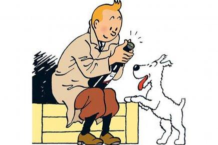 Tintin et son célèbre chien Milou.... (Photo Bloomberg News)