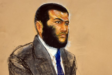 Esquisse d'Omar Khadr.... (Photo: JANET HAMLIN, AFP)