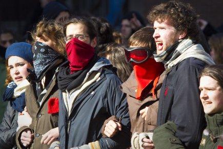 La manifestation d'hier, à Montréal, a rapidement tourné... (Photo: André Pichette, La Presse)