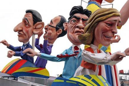 Des figurines géantes représentant les candidats à la... (Photo: Éric Gaillard, Reuters)