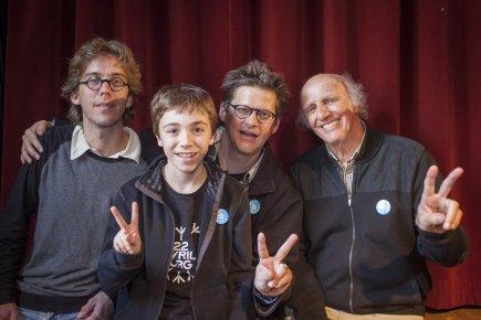 Fred Pellerin, Émilien Néron, Dominic Champagne et Gilles... (Photo : Olivier PontBriand, La Presse)