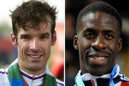 Le cycliste David Millar et le sprinteur Dwain... (Photo: AFP)