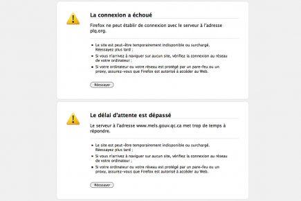 Les sites du Parti libéral du Québec et... (Image: capture d'écran des sites inaccessibles)
