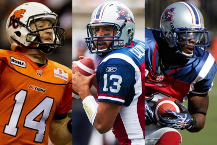 Travis Lulay, Anthony Calvillo et Jamel Richardson.... (Photos: PC et La Presse)