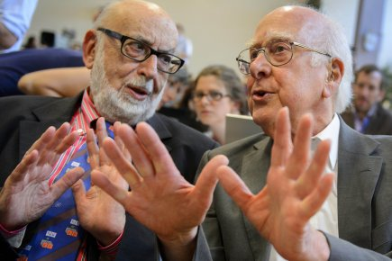 Les physiciens François Englert et Peter Higgs.... (Photo AFP)