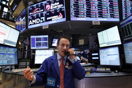 Wall Street évoluait en baisse à la mi-séance vendredi, les investisseurs... (Photo AP)