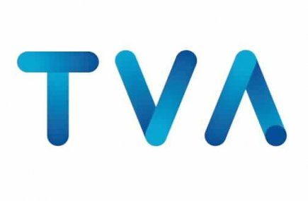 Le logo de TVA est maintenant tout bleu. Plus de cercle jaune ni de triangle...