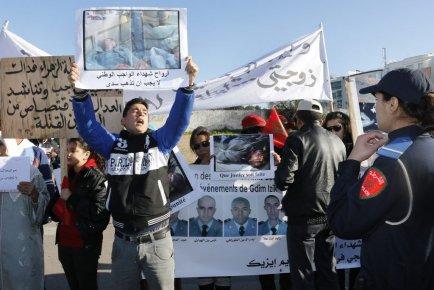 Une manifestation au Maroc le 8 février dernier.... (PHOTO AP)