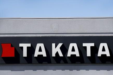 L'enseigne TAKATA telle que vue en mai 2015 sur le bâtiment du groupe japonais à Auburn Hills, au Michigan.