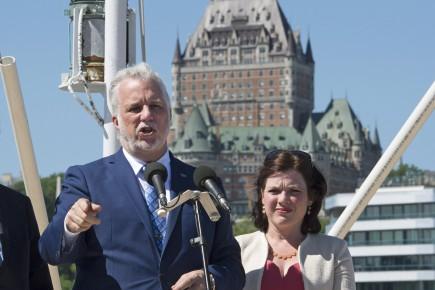 Philippe Couillardlors d'un point de presse à Québec, le 2 juin.