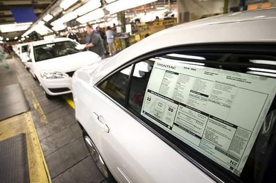 Les dernières Pontiac G6 sur la chaîne de montage de l'usine d'Orion, au Michigan.