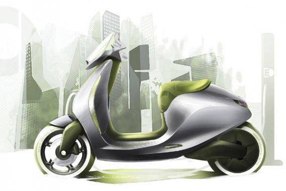 Un croquis du scooter électrique de Smart.