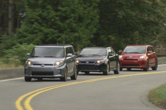 Les trois modèles Scion - xB, tC et xD (de l'avant vers l'arrière) - ne sont pas aussi similaires qu'ils peuvent paraître.