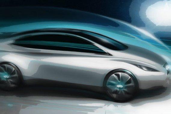 Infiniti a dévoilé ce croquis de l'EV, voiture complètement électrique que le constructeur compte commercialiser au cours des années à venir.