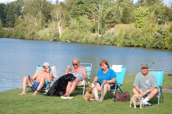 Dans le parc qui borde le lac, maîtres et chiens se reposent. (Émilie Bilodeau, La Presse)