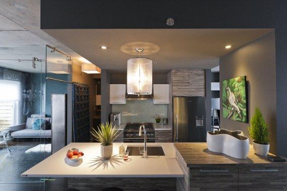 Penthouse de r ve au dix30 danielle bonneau maisons de - Plan de cuisine ouverte sur salle a manger ...