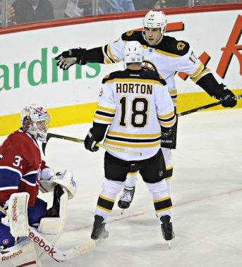 Les Bruins se sont inscrits au pointage en deuxième période sur un but de Milan Lucic. (Bernard Brault, La Presse)