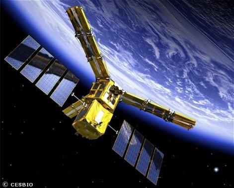 Voici à quoi ressemble le satellite SMOS, vu des airs! (Centre national d'études spatiales, http://smsc.cnes.fr/SMOS/Fr/index.htm)