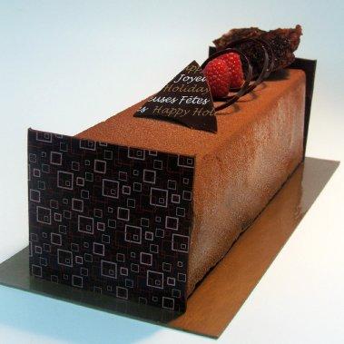 Bûche chocolat framboises, chez Cerise sur le gâteau (Fournie par Cerise sur le gâteau)