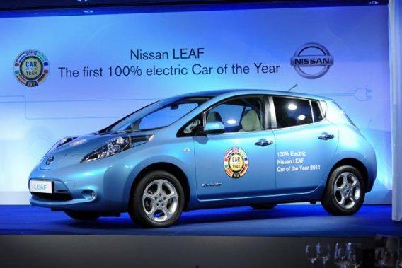 La Nissan Leaf, élue l'an dernier Voiture européenne de l'année.