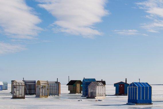 Les cabanes des pêcheurs sur glace à Fatima. (Photo: Édouard Plante-Fréchette, La Presse)